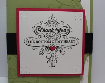Hand Stamped Elegant Thank You Card, Stampin Up card
