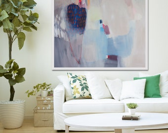 """large ABSTRACT Print, Giclée print of white, blue, pink painting, modern print  """"Tomasa"""""""