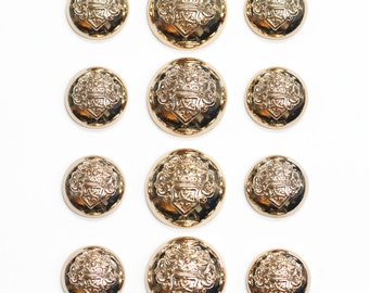 Sets of Bright Gold Metal Crest Buttons