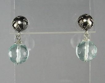 Aqua Quartz Sterling Dangle Earrings