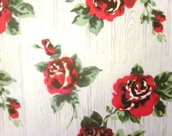 Vintage Wrapping Paper - Roses and Wood - One unused sheet Oversized Gift Wrap