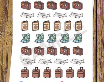 35 Travel Planner Stickers Plane Stickers Travel Stickers Suitcase Stickers Vacation Map Passport Stickers Flight Stickers Icon Stickers S21