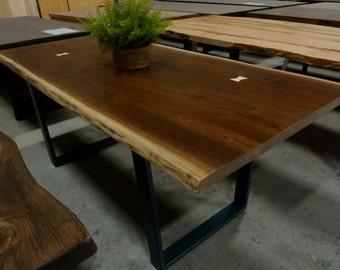 CUSTOM WALNUT Live Edge Dining Table on Steel Legs