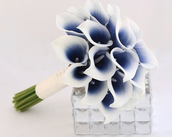 Navy Wedding Flowers, Bridesmaid Bouquet, Navy Blue Bouquet, Calla Lily Bouquet, Midnight Blue Wedding Flowers, Real Touch Bouquet