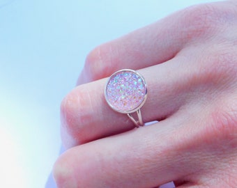 3 colors - adjustable faux druzy ring (large)