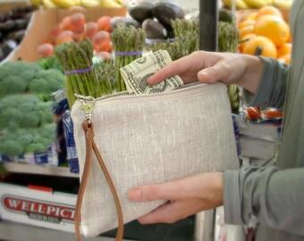 Clutch Bag, Simple Linen Wristlet