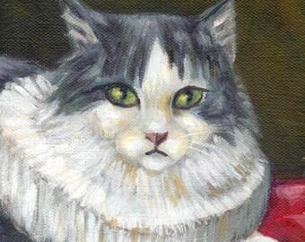 "cat painting art print ""A Cat In Peter Paul Rubens World"" long hair tuxedo cat, cat lover gift, wall decor, desk decoration, A3 print A4"