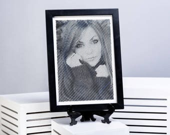 Black and White engraved portrait with Diagonal lines-9'X12'