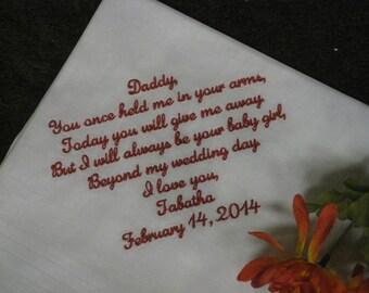 Father of The Bride Handkerchief - wedding hankerchief - personalize handkerchief - embroider dad handkerchief - father handkerchief