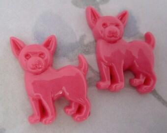 10 pcs. pink resin chihuahua dog flat back cabochons 24x21mm - f4962