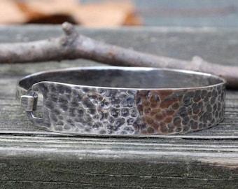 Hammered sterling silver bangle bracelet / silver bracelet / gift for her / jewelry sale / textured bracelet / stacking bracelet / oxidized