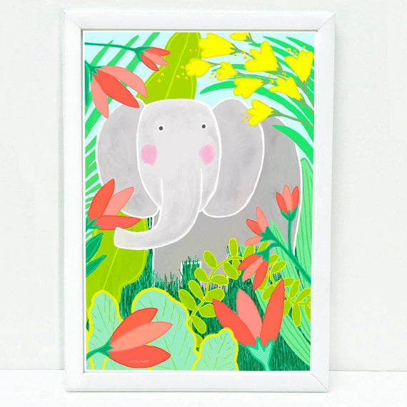 Whimsical elephant art print for kids, sophisticated art for kids, children's decor, art for kids wall, prints for kid's room, cute elephant