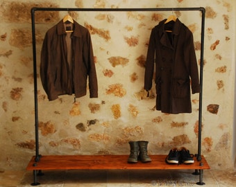 Rack PLANELOW garment rack,Industrial Pipe Clothing Rack,Wall Mounted Rack,clothes pipe shelf,pipe clothes rack,steampunk rack,bookshelve