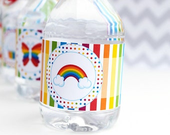 Rainbow Pretty Printable Water Bottle Wrappers, Rainbow Party Bottle Labels, Instant Download, Rainbow Party Printable, Rainbow Cupcake