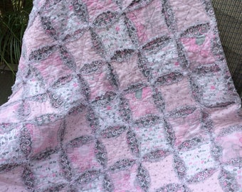 Baby Girl Flannel Rag Quilt