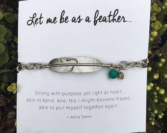 Feather bracelet - silver feather - Bible verse bracelet - let me be as a feather