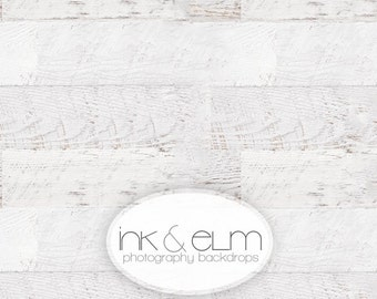 "Vinyl Photography Backdrop 6ft x 5ft, Photo Backdrop / Floordrop, Vintage White Wood Planks, White Wood Floor Backdrop, ""Celestially Aged"""