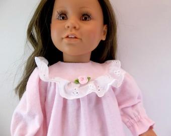 "18 inch Doll Sleepwear Pale Pink Flannelette Nightgown to fit 18"" American Girl Doll"