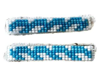 Blue/White Medium Loom Beaded Hair Barrette Pair