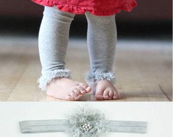 Silver Gray Holiday Baby Toddler Leg Warmers and Headband