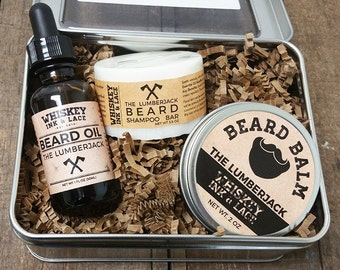 The Lumberjack Beard Kit - Cedarwood & Bergamot Beard Oil, Balm, Beard Shampoo, Beard Grooming Kit, Father's Day For Dad