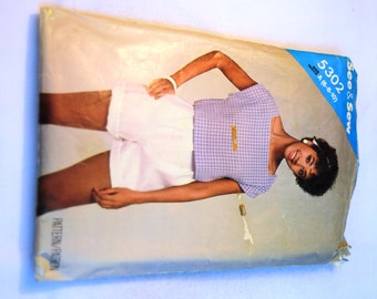 Vintage 1980s Butterick 5302 See and Sew shirt and shorts sewing pattern