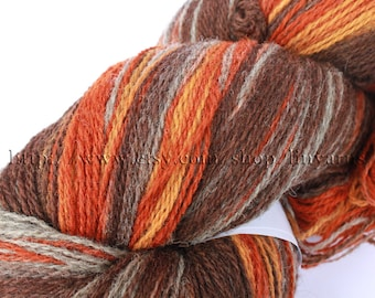KAUNI Estonian Artistic  Wool  Yarn Grey Orange 8/2, Art Wool  Yarn for Knitting, Crochet