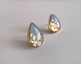 Blue Gray Gold Drop Stud Earrings - Hypoallergenic Titanium Posts