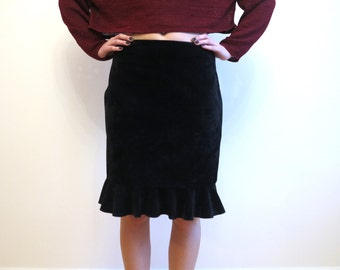 Black Faux Suede Knee Ruffled Skirt Low Waist Large Size Skirt