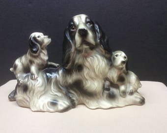 Large Vintage Spaniel Mama Dog w/Two Pups Figurine - Japan