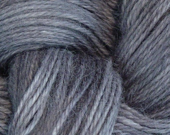Hand Dyed Alpaca Yarn in Pewter - Finger Wt - 250 yds