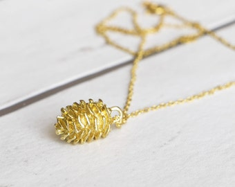 Gold Pine Cone Necklace, Gold Pendant, Charm Necklace, Forest Necklace, Bridesmaid Gift, Woodland Wedding, Gift For Women, Best Friend Gift