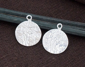 2 of 925 Sterling Silver Textured Disc Charms 13 mm. Polish Finished  :th2542