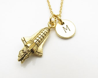 Rocketship Necklace, Rocket Ship Charm with Personalized Stamped Initial Letter, Antique Gold Rocket Spaceship Monogram Necklace, Z117