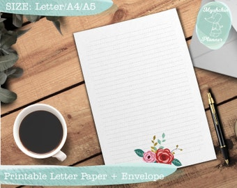 Printable writing paper Printable letter paper Printable envelope Printable stationary Instant download Floral paper