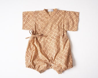 Baby Kimono, Jinbei, Romper for babies, AZUKI bébé, hand block printed fabric from India, made in France
