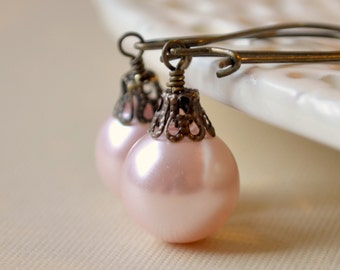 Blush Pink Christmas Earrings, Antiqued Brass, Pale Rose, Large Glass Pearl, Kidney Earwires, Fun Holiday Jewelry