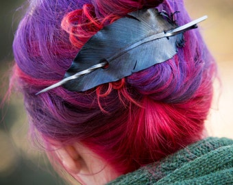 Leather Raven Feather Hair Barrette
