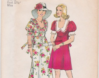FF 1970s Simplicity 6279 BOHO Dress in Mini & Maxi Length Round Ruffle Collar Vintage Sewing Pattern, Size 10, Bust 32 1/2, UNCUT