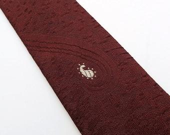 Vintage 60s Skinny Tie Necktie in Brown Silk  with White Embroidered Design Mid Century Mad Men Rockabilly