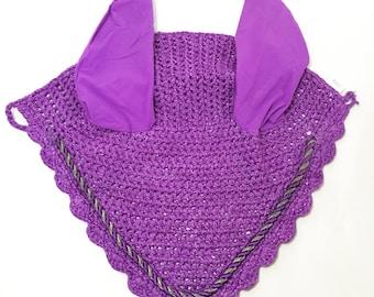 Purple Ear Bonnet, Horse Fly Bonnet, Ear Net, Horse Ear Net, Ear Bonnet, Fly Veil, Purple Tack, Purple Fly Bonnet