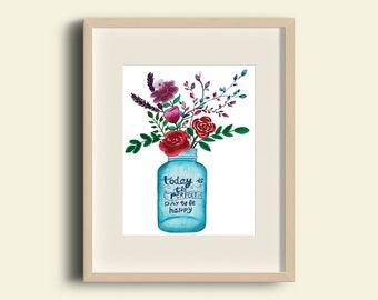 Bouquet Art Print,home decor,gift,handmate item,watercolour,A4 size,illustration,wall decor,unframed,gift ideas