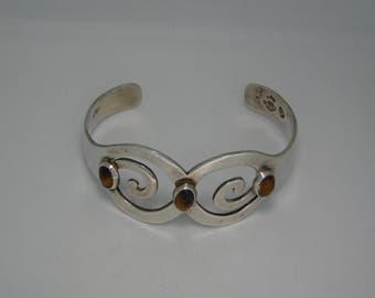 Sterling Tiger Eye Cuff Bracelet