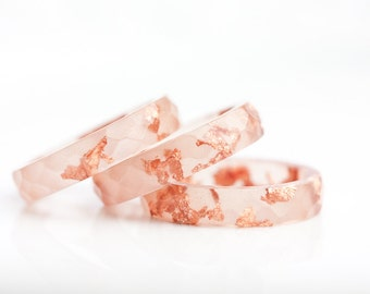 Peach Resin Stacking Ring Rose Gold Flakes Small Faceted Ring OOAK pastel nude salmon minimalist jewelry