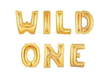 Wild One Letter Balloons, Wild Things Balloons, Gold Letter Balloons, Monster Party Theme Balloons, Gold Letter Balloons, Custom Balloons