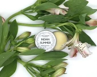 Indian Summer- Solid Perfume, Vegan, Alcohol Free, With Jojoba Oil, Sweet Orange, Ylang Ylang, Cedarwood And Sandlewood Essential Oils.