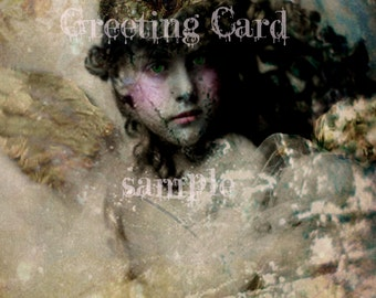 GREETING CARD Note Card 5 x 7 Suitable for FRAMING Mixed Media Altered Art Print Crown Vintage Victorian Beautiful Little Girl Angel