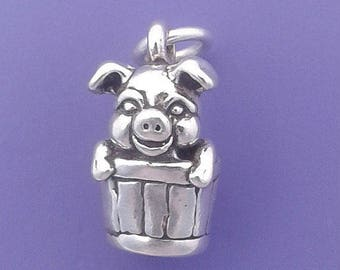 PIG In Barrel Charm .925 Sterling Silver Hog in Bucket Small Pendant - lp2310