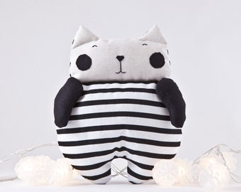 Black Cat Toy, Cat Lover Gift, Girl Nursery Decor, Toddler Toys for Girls, Baby Shower Gift, Striped Stuffed Toy, Girlfriend Gift