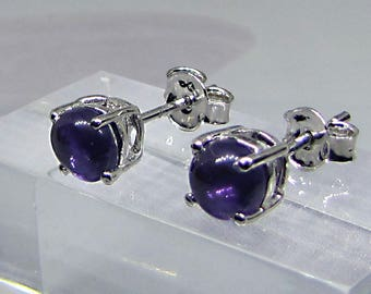 Earrings studs sterling silver and Amethyst